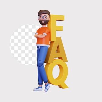 3d mannelijk karakter dat op afaq-pictogram leunt