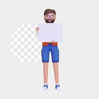 3d mannelijk karakter dat zich met een leeg aanplakbiljet met 2 handen bevindt
