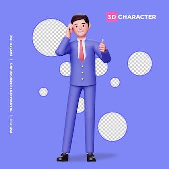 3d mannelijk karakter duimen omhoog en praten op de mobiele telefoon met transparante achtergrond