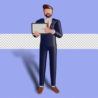 3d-mannelijk karakter met tablet voor presentatie.
