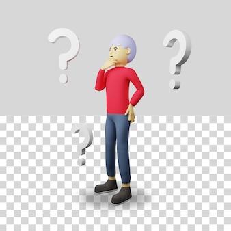 3d mannelijk karakter met vraagteken
