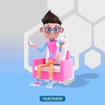 3d mannelijk karakter zittend in een stoel met telefoons en kopje koffie