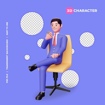 3d mannelijk karakter zittend op stoel met transparante achtergrond