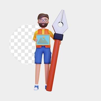 3d mannelijk personage dat een tekenontwerp en een pengereedschap vasthoudt