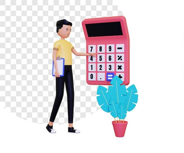 3d mannelijk personage gebruikt een rekenmachine