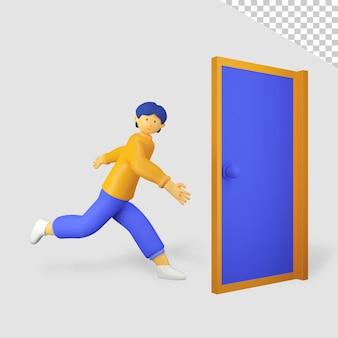 3d mannelijk personage loopt de deur tegen het lijf