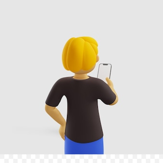 3d-mannelijk personage met smartphone