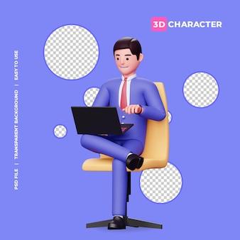 3d mannelijk personage zittend op een stoel met laptop
