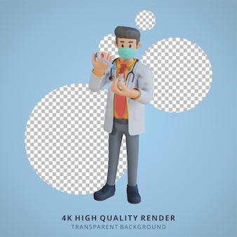 3d mannelijke arts die een masker draagt dat een illustratie van het karakterontwerp van de vaccininjectie houdt