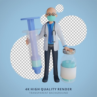 3d mannelijke hogere arts die een masker draagt dat een illustratie van het karakterontwerp van de vaccininjectie houdt