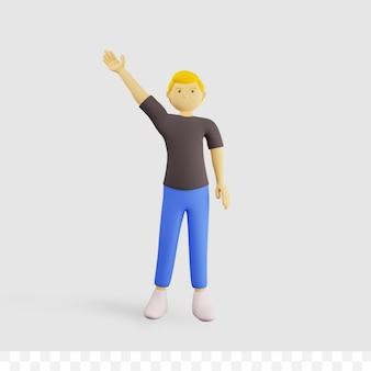 3d mannelijke karakter cartoon zwaaien