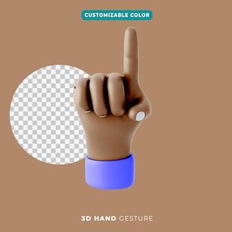 3d mano señalando icono de gesto