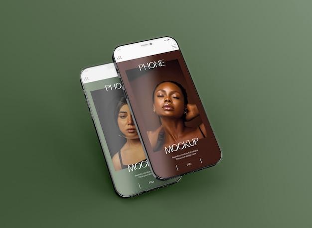 3d maqueta de dos teléfonos inteligentes levitando. imagen no incluida