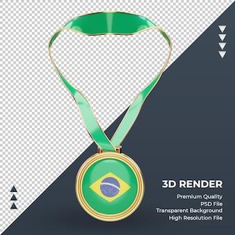 3d-medaille brazilië vlag rendering vooraanzicht