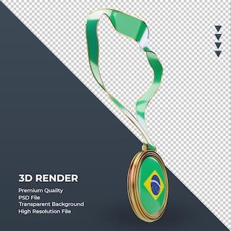3d-medaille brazilië vlag weergave linker weergave
