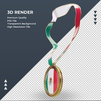 3d-medaille mexico vlag rendering juiste weergave