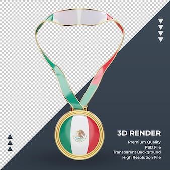 3d-medaille mexico vlag rendering vooraanzicht
