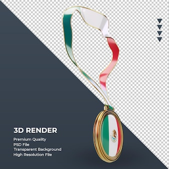 3d-medaille mexico vlag weergave linker weergave