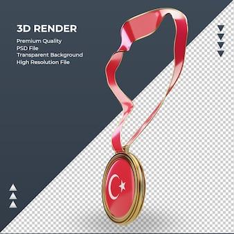 3d-medaille turkije vlag rendering juiste weergave