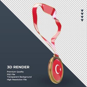 3d-medaille turkije vlag rendering linker weergave