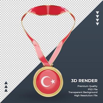 3d-medaille turkije vlag rendering vooraanzicht