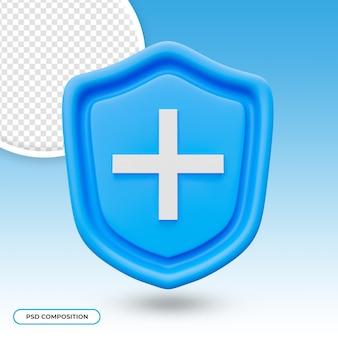 3d medisch symbool van de schildbescherming met dwarsteken