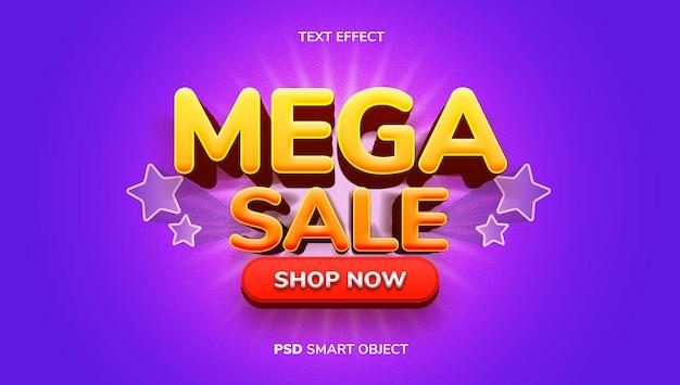3d mega sale-teksteffect met geel, oranje en paars kleurenthema