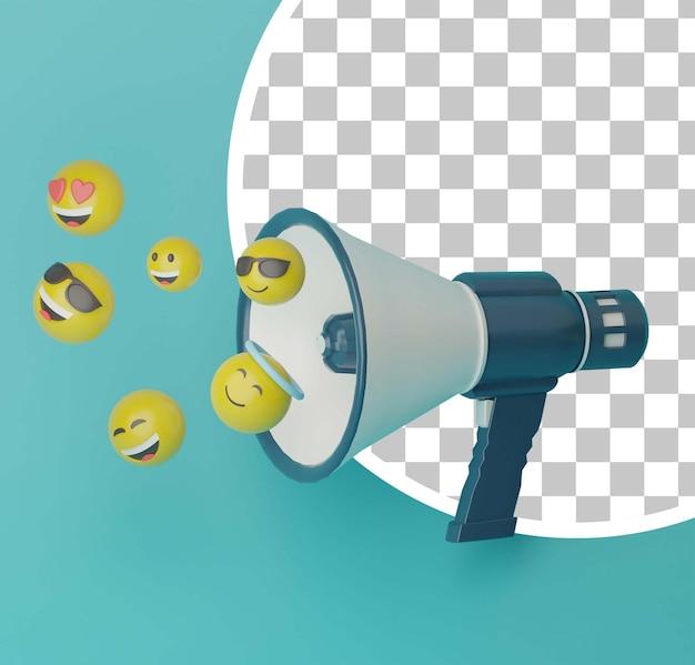 3d-megafoon met vliegende emoji-illustratie
