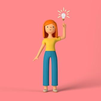 3d-meisjeskarakter met een idee