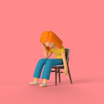 3d-meisjeskarakter zittend op een stoel