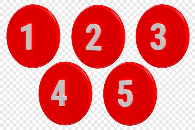 3d-meldingspictogrammen waarschuwingen met nummers in de app of inbox voor waarschuwingen voor nieuwe inkomende berichten