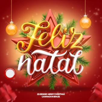 3d merry christmas-label met sterachtergrond en ballenboom braziliaans portugees