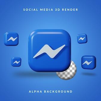 3d messenger-toepassingslogo met alpha-achtergrond