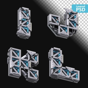 3d-metalen letters i, j, k, l met gloeiend effect