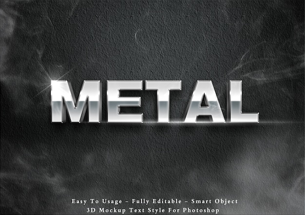 3d-metalen tekst stijl effect