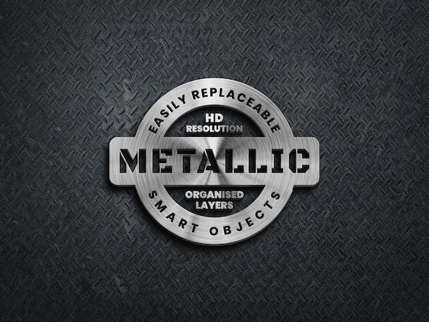 3d-metallic logo-mockup op ruw stalen oppervlak