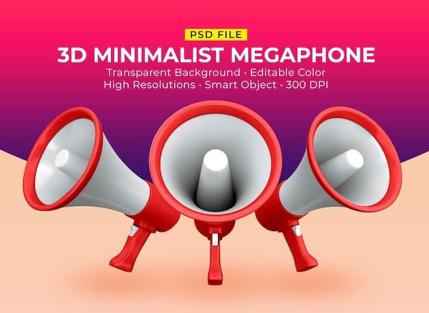 3d minimalistische bewerkbare megafoonscène-maker