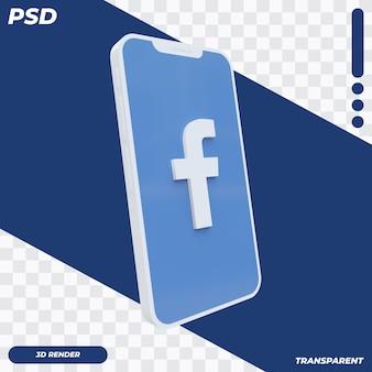 3d mobiele telefoon met facebookpictogram