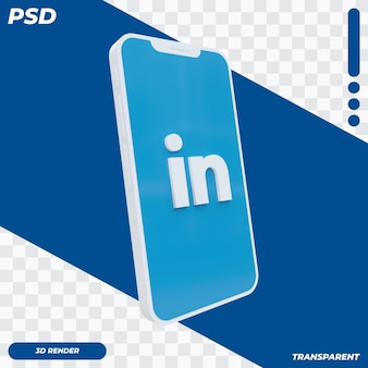 3d mobiele telefoon met linkedin-pictogram