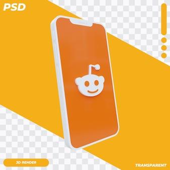 3d mobiele telefoon met reddit-pictogram