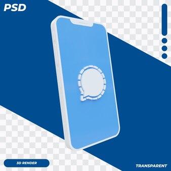 3d mobiele telefoon met signaalpictogram