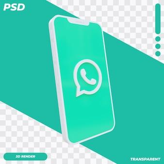 3d mobiele telefoon met whatsapp-pictogram