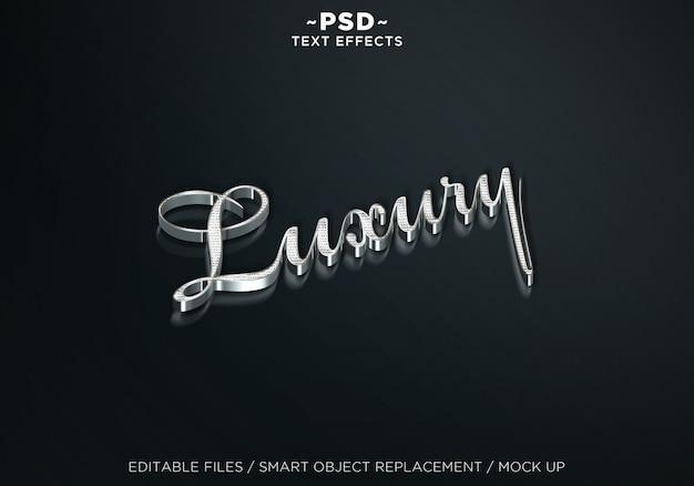 3d mock up luxury silver editable efectos de texto