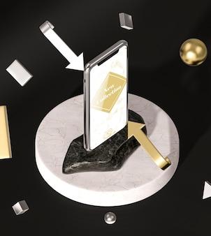 3d mock-up smartphone hoge weergave en pijlen