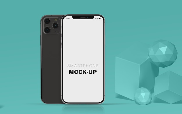 3d-mock-up voor mobiele telefoons premium gratis