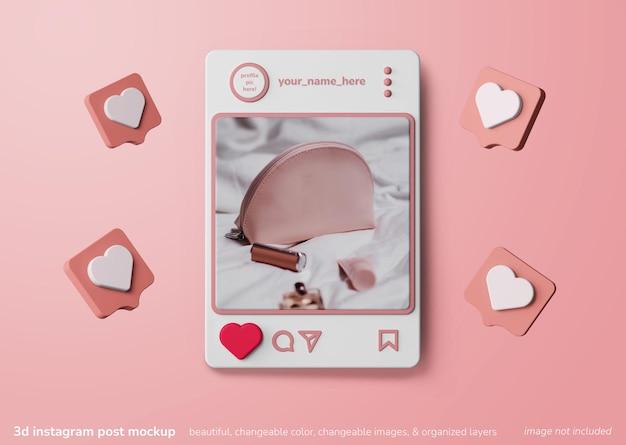3d mockup-concept instagram-apps sociale media plaatsen met soortgelijke melding