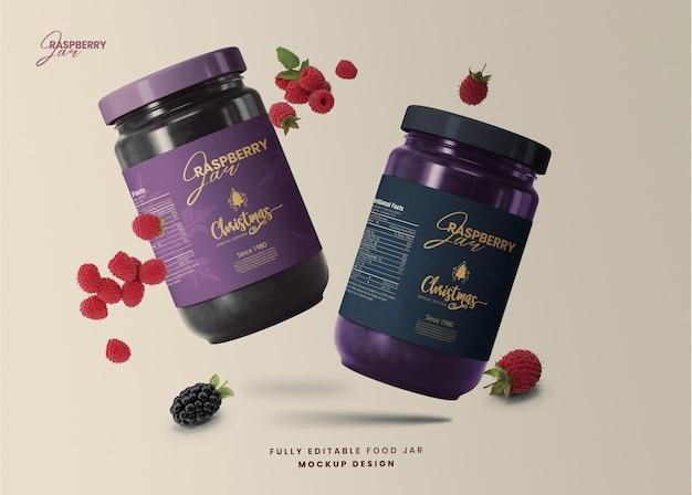 3d-mockup voor glazen frambozenpot met speciale editie van kerstmis