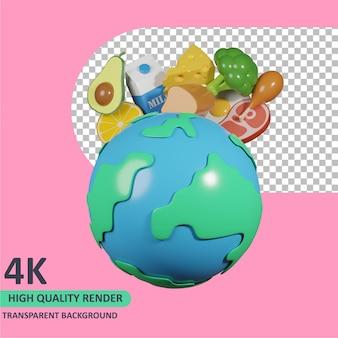 3d-model dat de aarde en de verschillende voedingsmiddelen erachter wereldvoedseldag weergeeft