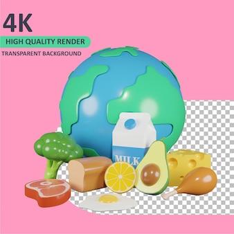 3d-model dat de aarde en verschillende voedingsmiddelen ervoor weergeeft wereldvoedseldag