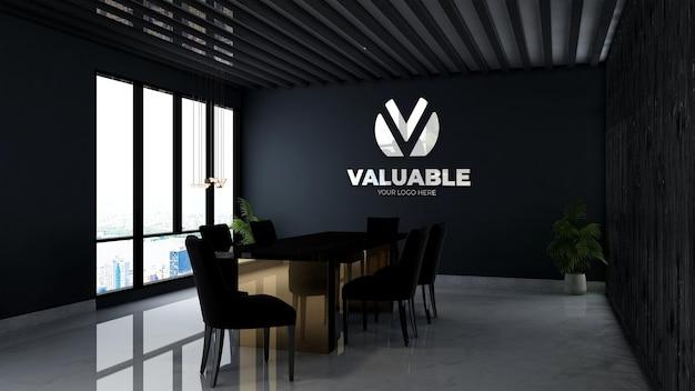 3d-model met bedrijfslogo in de vergaderruimte op kantoor